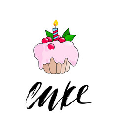 Birthday cupcake with burning candle pink berry vector
