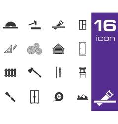 black carpentry icons set on white background vector image
