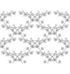 black seamless pattern with drawn branches vector image vector image