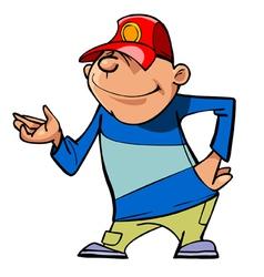 cartoon character guy in a baseball cap shows hand vector image vector image