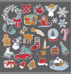 Christmas set icon elements can be used for advent vector