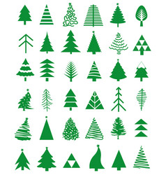 Christmas tree icon set vector