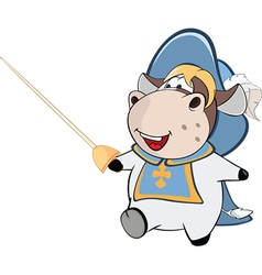 Cute cow king musketeer cartoon vector