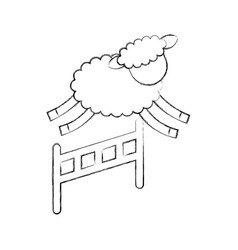 Cute lamb jumping the fence vector