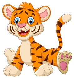 cute tiger sitting cartoon vector image vector image