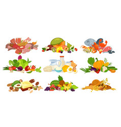 daily food products of bread dairy vegetables vector image