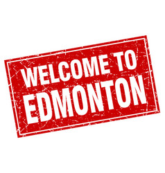 Edmonton red square grunge welcome to stamp vector