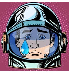 Emoticon sadness tears emoji face man astronaut vector