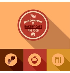 Flat fine food design elements vector