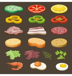 Food slices for sandwiches Snack vector image