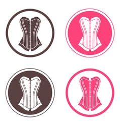 Four round logo with corsets vector