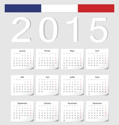 French 2015 calendar with stickers vector