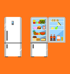 full of food opened and close refrigerator fridge vector image