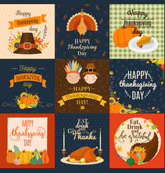 happy thanksgiving decoration lettering vector image