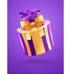 holiday gift with gold ribbon vector image vector image