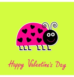 Lady bug with dots hearts Valentines Day vector image vector image