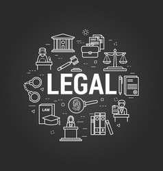legal system on black vector image