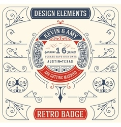 Old badge baroque ornaments design elements vector
