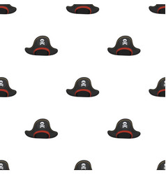 Pirate hat with skull icon in cartoon style vector