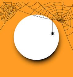 Round halloween card with spiderweb vector