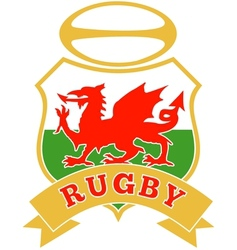 Rugby ball wales red welsh dragon shield vector