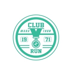 Running club green label design vector