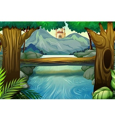 Scene with river in the forest vector image