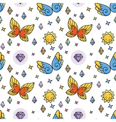 Seamless pattern with butterflies and suns and vector