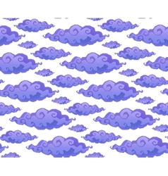 Violet curly cartoon style clouds seamless vector
