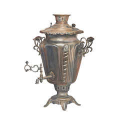 watercolor russian samovar isolated vector image