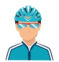 Cyclist sunglasses helmet icon vector