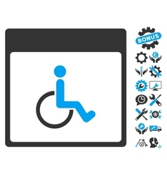 Handicapped calendar page icon with bonus vector