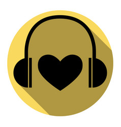 Headphones with heart  flat black icon vector