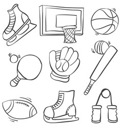 doodle of sport equipment various collection vector image