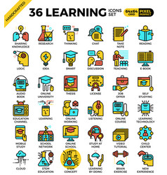 Learning education concept icons vector