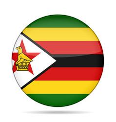 Flag of zimbabwe shiny round button vector