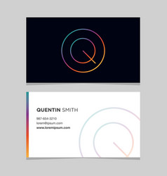 business-card-letter-q vector image