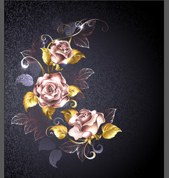 Three roses in pink gold vector