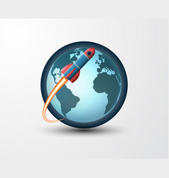 earth and rocket vector image