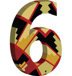 3d font number 6 vector