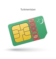 Turkmenistan mobile phone sim card with flag vector