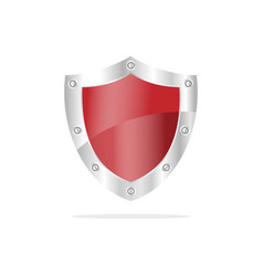 3d red security shield on a white background vector image