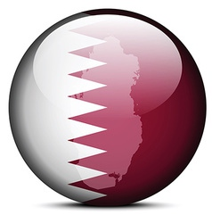 Map on flag button of state of qatar vector