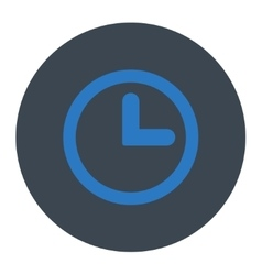 Clock flat smooth blue colors round button vector