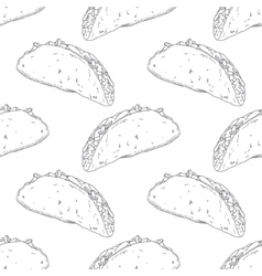 Seamless pattern with hand drawn taco background vector