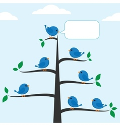 Cartoon blue birds vector