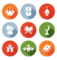 Religion orthodoxy islam catholic icons set vector