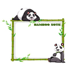 Border design with bamboo and panda vector