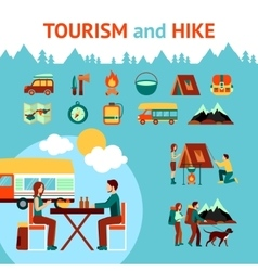 Tourism and hike infographics vector