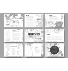 Set of 9 templates for presentation slides hand vector